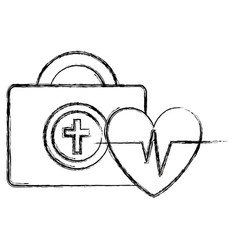Medical kit with heart cardio vector