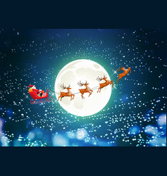 Merry christmas santa claus in sleigh reindeer vector