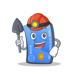 Miner credit card character cartoon vector