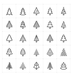 Mini icon set christmas tree icon vector