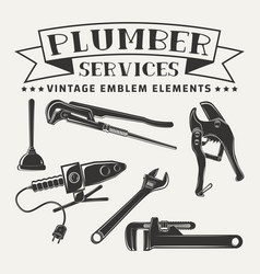 Monochrome plumber emblem elements vector
