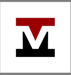 negative space letter m square logo vector image