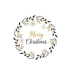 New year and christmas wreath unique design vector