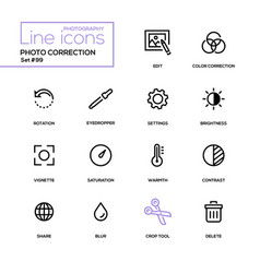photo correction - modern line design icons set vector image
