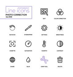 photo correction - modern line design icons set vector image