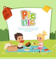 picnic banner kids sitting in garden vector image