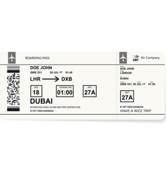 Realistic airline ticket design vector