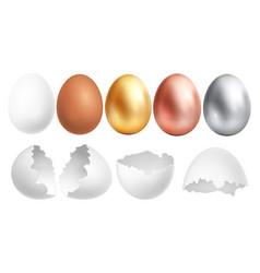 realistic eggs white egg and broken shell golden vector image