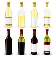 Red and white wine collection of bottles vector