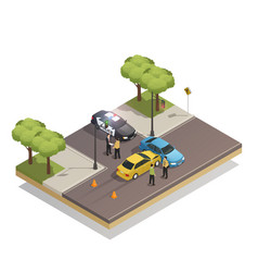 Road collision accident isometric composition vector