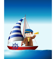 Sailor sailing at sea vector