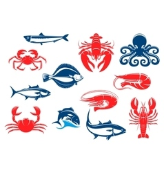 Seafood icon set with fish and crustacean vector