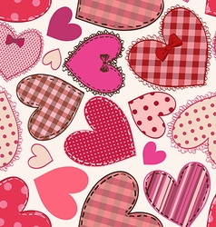 seamless pattern heart patchworks vector image