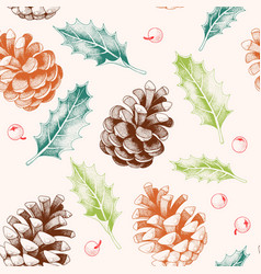 Seamless pattern with pine cones and holly vector