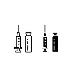 Set injection icon outline and glyph style vector