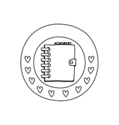 Silhouette circular border with hearts and daily vector