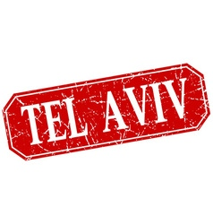 Tel Aviv red square grunge retro style sign vector