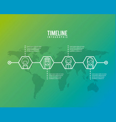 timeline infographic world people community group vector image