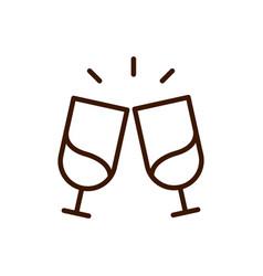 toast champagne glasses celebration love heart vector image