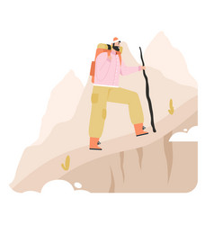 Tourist man with backpack and stick climbs vector