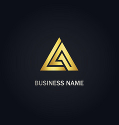 triangle delta shape business gold logo vector image