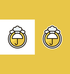 umbrella and rain logo icon sign isolated on an vector image