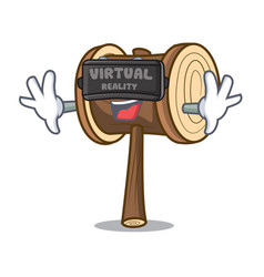 Virtual reality mallet mascot cartoon style vector