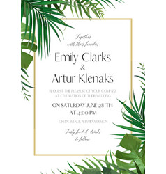 Wedding green tropical forest invite card vector