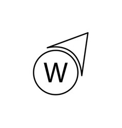 West direction icon vector