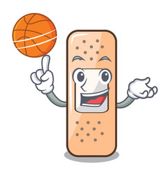 with basketball sticking plaster on the cartoon vector image