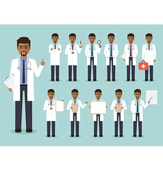 African doctor medical and hospital staff charact vector image vector image