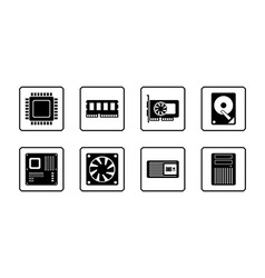 Computer Hardware Web Icon Set vector image