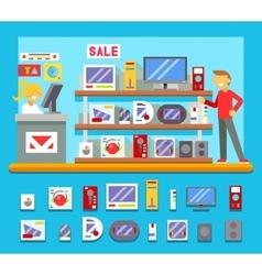 Computer Shop Interior Seller Goods Offer Sale vector image vector image