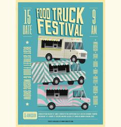 Food truck festival poster flyer template vector