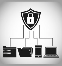 shield protection data device files vector image vector image