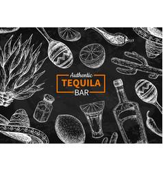 tequila bar blackboard label mexican vector image vector image
