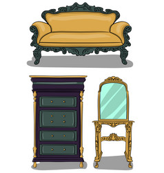 a set of furniture chest of drawers in gray and vector image vector image