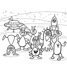 cartoon ufo aliens group coloring book vector image