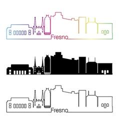 Fresno V2 skyline linear style with rainbow vector image vector image