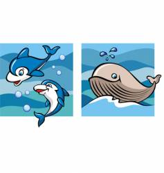 marine life dolphins and whale vector image vector image