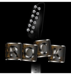 neck of the guitar with words rock vector image vector image
