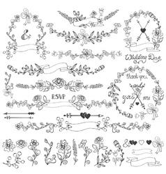 Doodles floral decor setWreathBorderselements vector image vector image