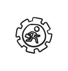 Man running inside the gear sketch icon vector