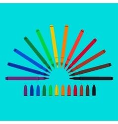Set of felt-tip pens red green yellow purple vector image