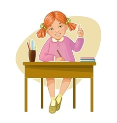 Small girl during her studying sitting at the desk vector image vector image