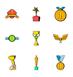achievement icons set cartoon style vector image vector image