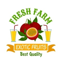 Exotic passion fruits with juice isolated badge vector