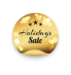 holidays sale text on golden stamp blurred element vector image vector image