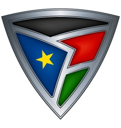 steel shield with flag south sudan vector image