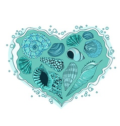 with heart of seashells vector image